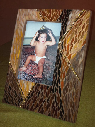 "amber ""Paintbrush Cut"" stained glass mosaic frame"
