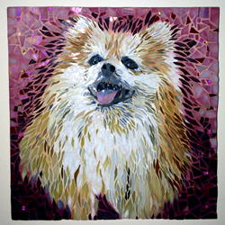 mosaic art pet portrait Amber