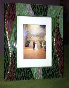 burgundy and hunter green paintbrush cut stained glass photo frame
