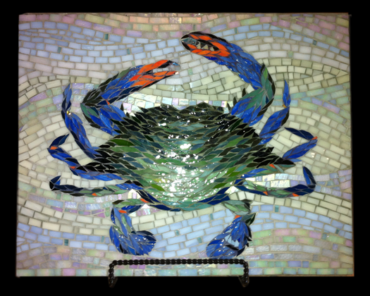 Blue Claw- paintbrush cut stained glass mosaic art piece