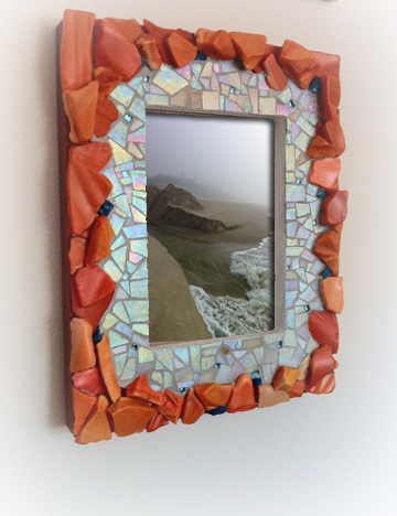 tango-coral picture frame mosaic border with mother of pearl stained glass