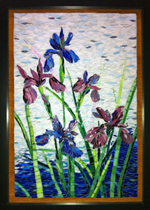 "irises- stained glass mosaic using paintbrush cut technique- 14"" x 20"" framed"