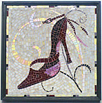 mosaic art stained glass design of high heeled shoe- Shaina's Shoe