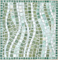 Wave tumbled stone tile in green and grays